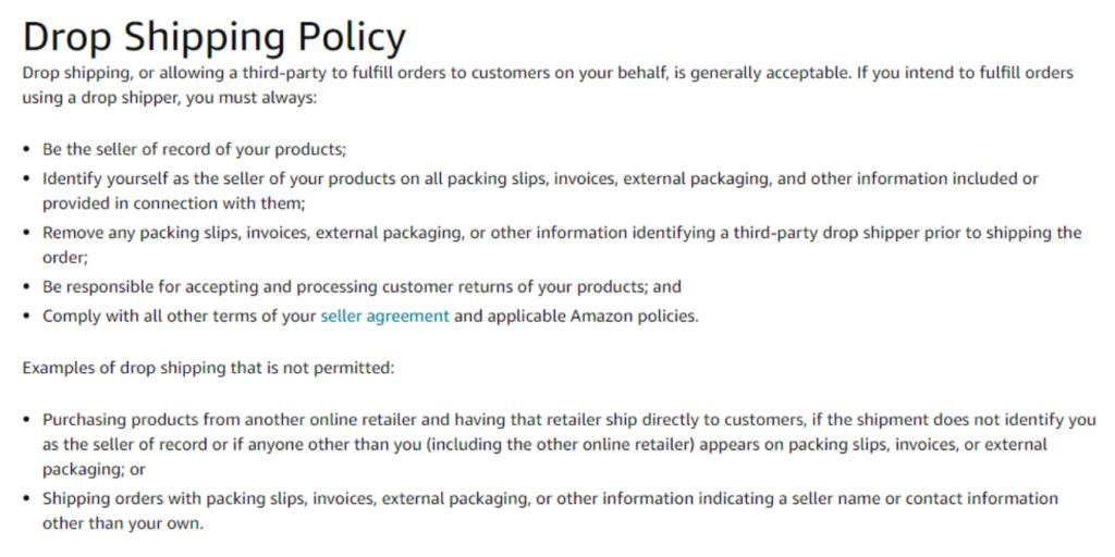 Dropshipping policies of Amazon