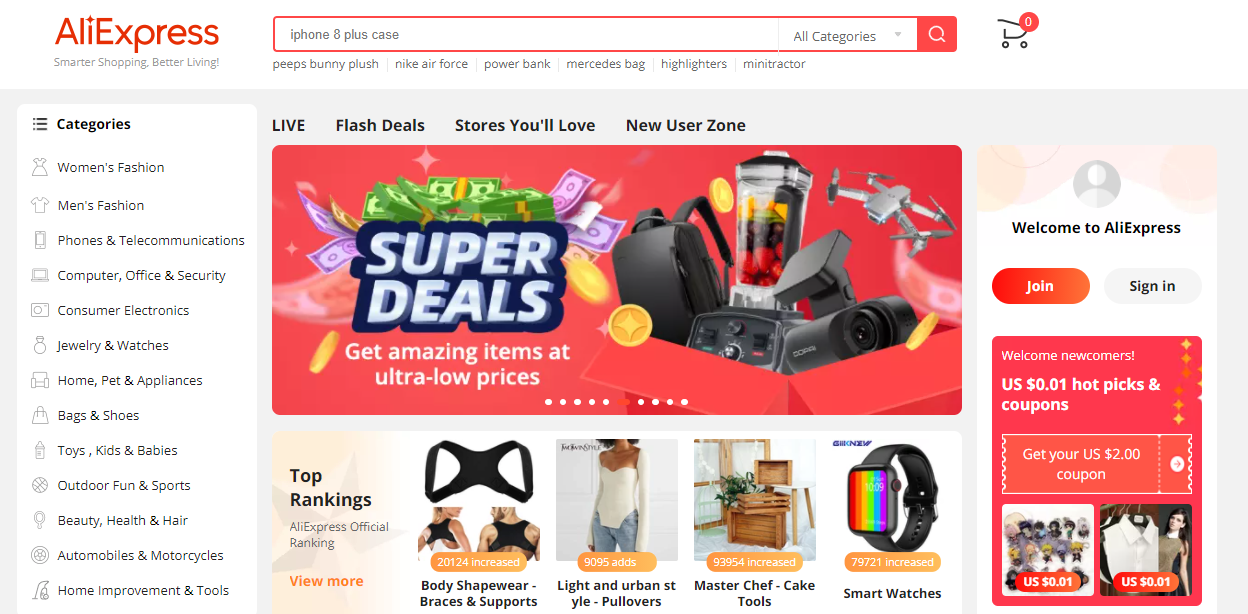 Screenshot of the AliExpress homepage