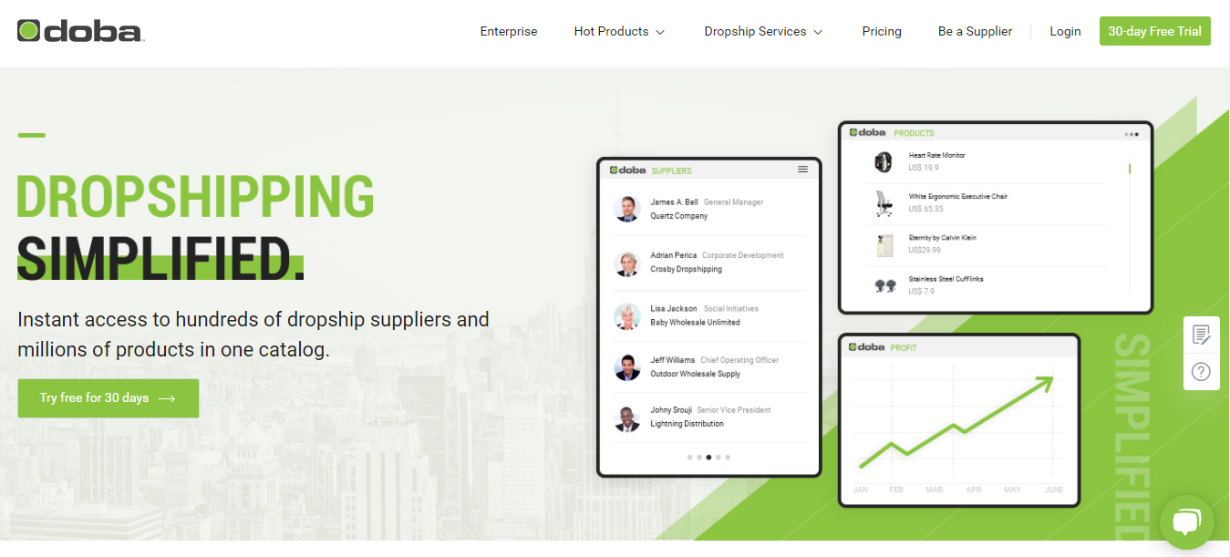 Screenshot of Doba's homepage