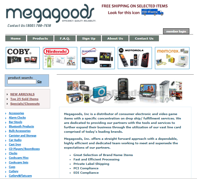 Screenshot of Megagood's homepage