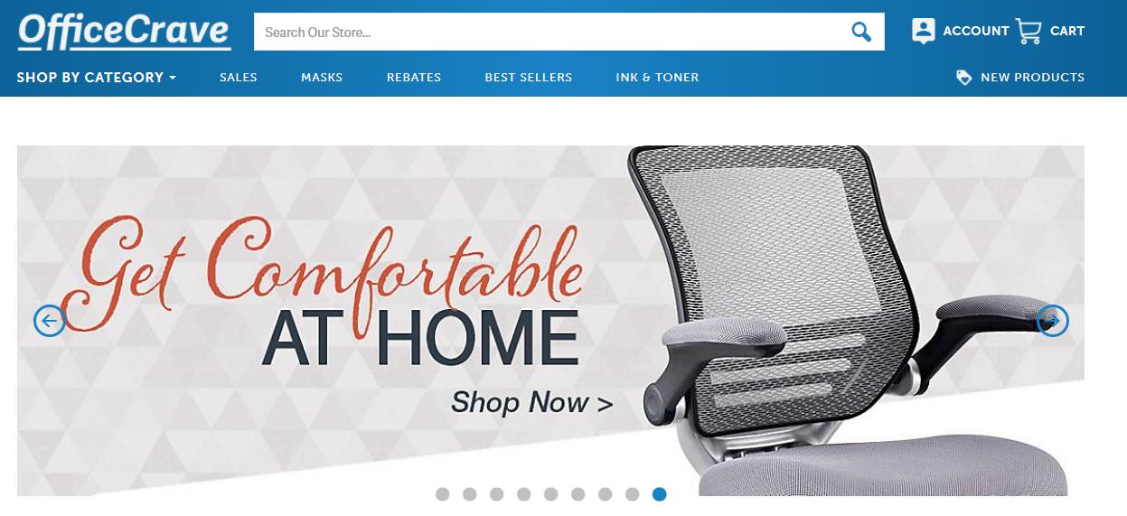 Screenshot of OfficeCrave's homepage