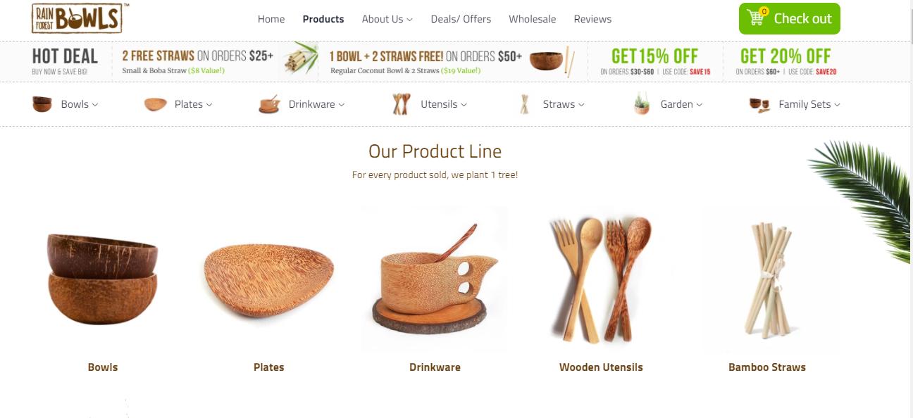 Screenshot of Rainforest Bowls's niche product line