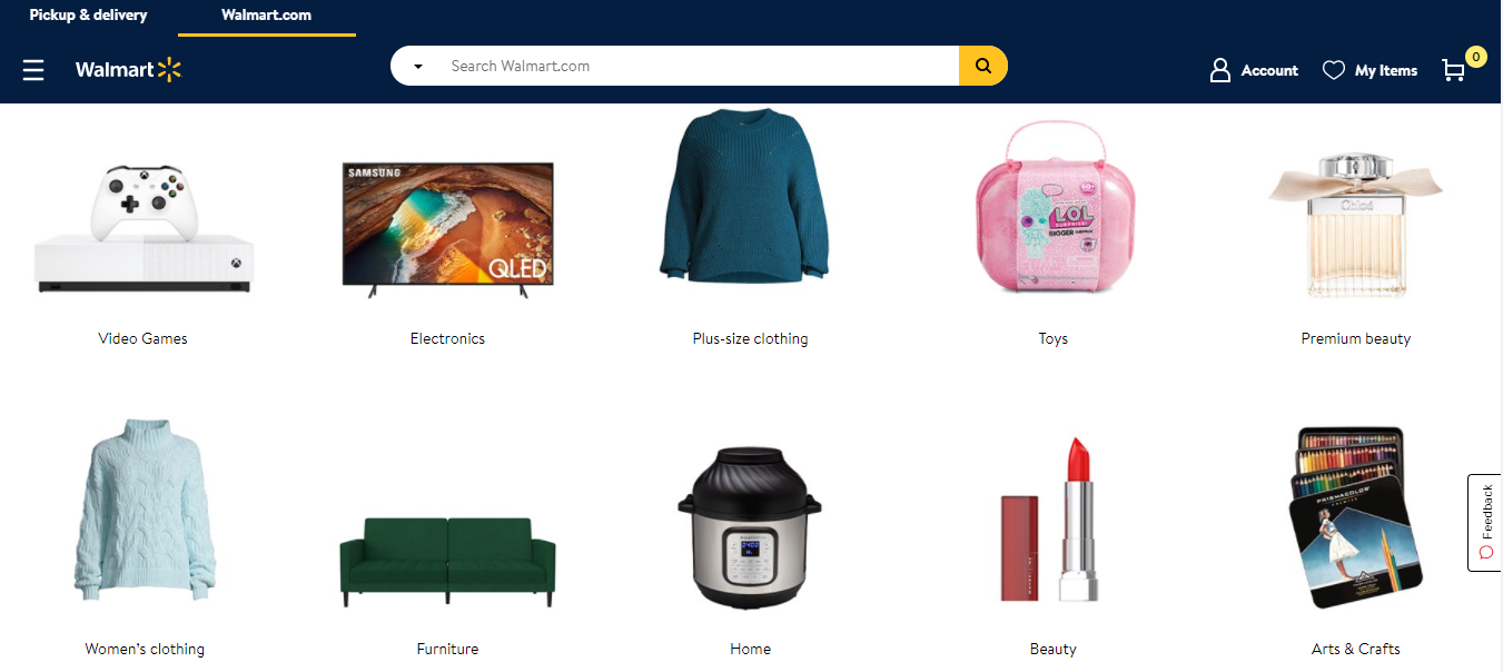 Screenshot of Walmart's Shop by Category section